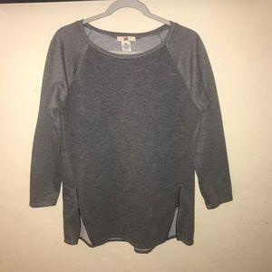 Ya Los Angeles | Grey Textured Zipper Sweater